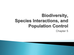 Biodiversity, Species Interactions and Population Control