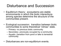 Disturbance and Succession - Penn State York Home Page