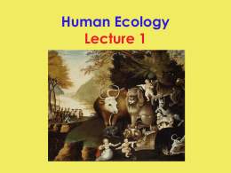 Human Ecology Lecture 1