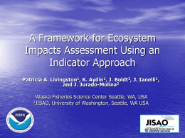 Ecosystem Impacts Assessment Framework: Objectives, sub