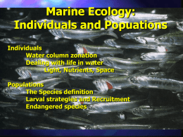 Marine Ecology: Individuals and Popuations