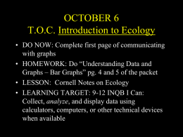 Introduction to Ecology October 7 Ecology