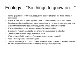 "Ecology – ""So things to gnaw on…"""