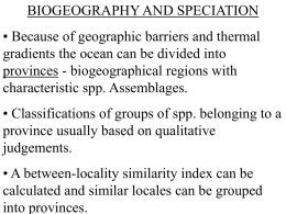 Biogeography and Speciation
