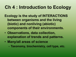Ch 19 : Introduction to Ecology