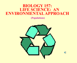 BIOLOGY 154: ECOLOGY and ENVIRONMENTAL ISSUES