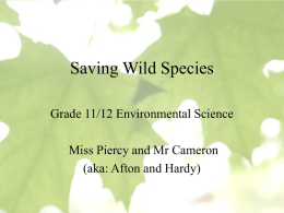 Saving Wild Species