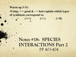 SPECIES INTERACTIONS CONT