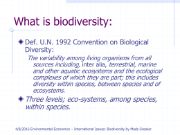 The Economics of Biodiversity