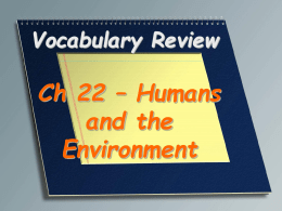 Humans and the Environment Vocabulary Review