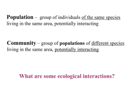 Species interactions and symbiotic relationships