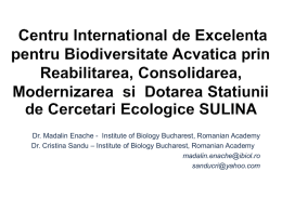 International Centre of Excellency for Aquatic Biodiversity in Sulina