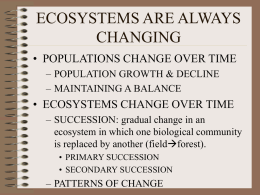 ECOSYSTEMS ARE ALWAYS CHANGNING