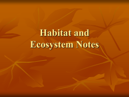 Habitat and Ecosystem Notes