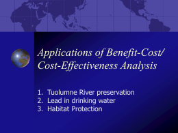 Applications of Benefit Cost Analysis