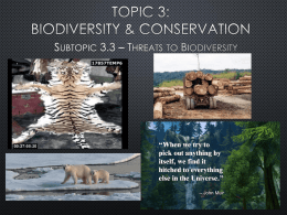 3.3 Threats to Biodiversity