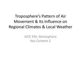 Troposphere's Pattern of Air Movement & Its Influence on