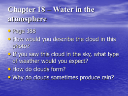 Chapter 18 – Water in the atmosphere