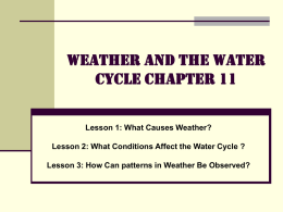 Weather and the Water Cycle: Chapter 11
