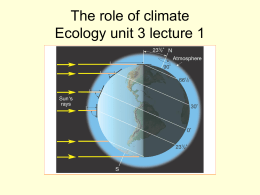 The role of climate Ecology unit 3 lecture 1