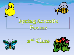Spring Acrostic Poems 1st & 2nd Class
