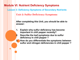 Module VI: Nutrient Deficiency Symptoms