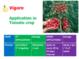 CROP 1 ST APPLICATION Dosage SPRAY APPLICTIONS Dosage