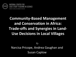 Community-Based Management and Conservation in Africa: Trade