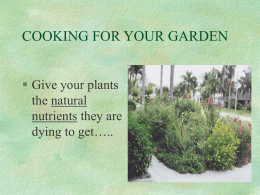COOKING FOR YOUR GARDEN