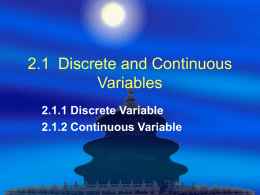 2.1 Discrete and Continuous Variables