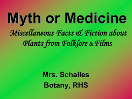 Myth or Medicine Plants from films & folklore