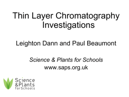 SAPS -TLC - investigations - Science & Plants for Schools