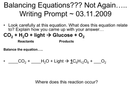 Balancing Equations??? Not Again….. Writing Prompt ~ 12.19.2008