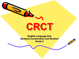 CRCT English Language Arts Sentence Construction and Revision
