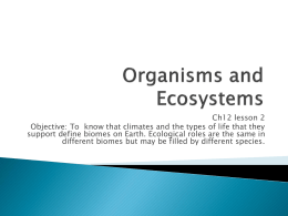 Organisms and Ecosystems