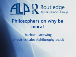 Philosophers on why be moral