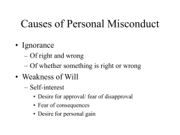 Causes and Cures of Personal Misconduct