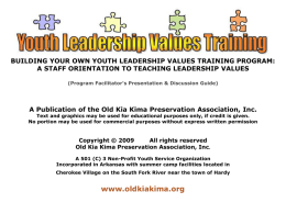 Building Your Own Youth Values Training Program