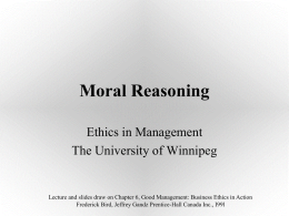 Moral Reasoning - Department of Business and Administration