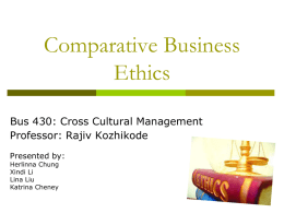 Week 6– Comparative Business Ethics Team 4