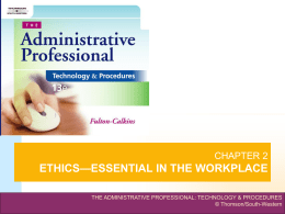 chapter 2 ethics—essential in the workplace