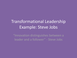Transformational Leadership Example: Steve Jobs
