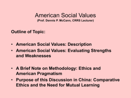 American Social Values - Chinese Mental Health