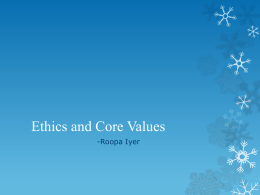 Integrity, Ethics and Core Values
