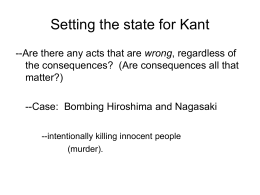 Setting the state for Kant