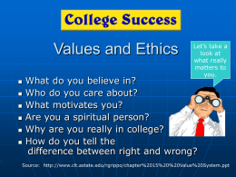 Chapter 15 - Values and Ethics