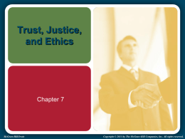 Trust, Justice, and Ethics