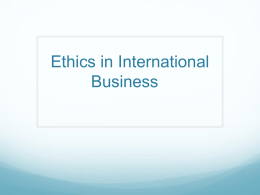 Ethics and Global Business