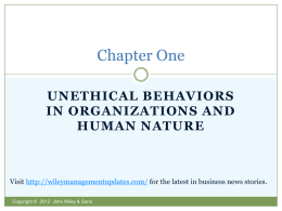unethical behaviors in organizations and human nature