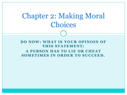 moral decision making - St. Joseph Hill Academy